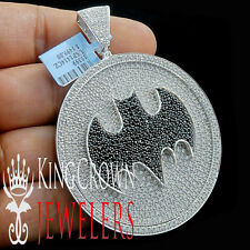 Mens 14K White Gold Over Real Silver Custom Medallion Batman Pendant Big XL 3''