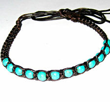 BRACELET ANKLET BLACK COTTON BLUE TURQUOISE BEADS FRIENDSHIP SURFER BOHO HIPPIE
