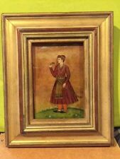 Asian Male painting verre églomisé (Reverse Painting on Glass) Framed
