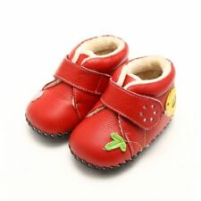 Boys' Leather Baby Boots with Hook & Loop Fasteners