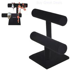 Jewelry Stand Holder Black Velvet T Bar Bracelet Necklace Display Organizer Rack