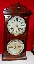 ITHACA DOUBLE DIAL CALENDAR SHELF CHIME CLOCK c.1885 ORIGINAL FARMER #10 WORKING