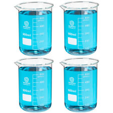 4 Pack Of 600ml Science Lab Borosilicate Glass Beakers New