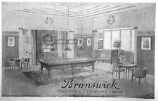 PUBLICITÉ DE PRESSE 1925 BRUNSWICK BILLARDS JEUX PHONOGRAPHES DISQUES