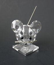 "Swarovski Crystal MOUSE on Pedestal~Black Bead Eyes, Nose~Flexible Tail~2.5"" Tal"