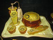 New ListingVtg bakelite Vanity Dresser Set Mirror Brush Perfume Bottle tray jar amber glass