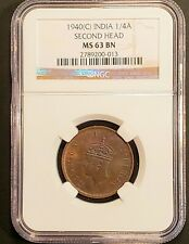 1940(c) British India 1/4 Anna Second Head Coin! NGC MS-63BN! KM-531!