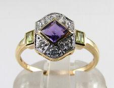 SUFFRAGETTE 9K 9CT GOLD AMETHYST PERIDOT DIAMOND ART DECO INS RING Free Resize
