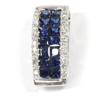 1.12 ct tw Natural Sapphire & Diamond Solid 14k White Gold Invisible Set Pendant