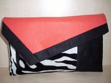 OVER SIZED ORANGE, ZEBRA PRINT & BLACK Faux Suede & velboa Clutch bag, UK made.