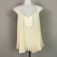 Free People Womens Small Tank Top Pleated Ivory Spaghetti Strap Blouse Sheer