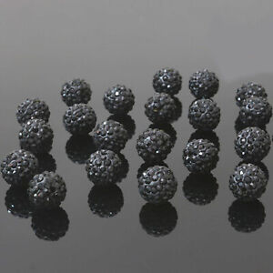 20Pcs 10mm Black Alloy Ball Crystal Rhinestones Spacer Beads Fashion Jewelry