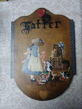 Folk Art Painting on Wood Board primitive cats kittens Hatter vintage signed