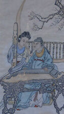 "ANTIQUE CHINESE WATERCOLOR ON PAPER PAINTING"" MAN&WOMAN IN GARDEN PLAYING MUSIC"""