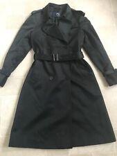 Burberry Prorsum Black/Teal Cotton Gabardine Midi Trench Coat Uk 10 42 Rare VGC
