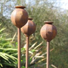 Set of 3 150 cm Tall Metal Poppy Seed Heads Decorative Garden Rusty Support