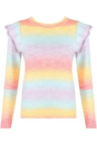 Pastel Ombre Stripe Frill Sleeve Bright Knit Jumper - BNWT - One Size UK 8 - 14