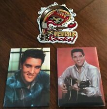 2 ELVIS PRESLEY & 1 Memphis REFRIDGERATOR MAGNETS Marked ENTERPRISES 1997 USED