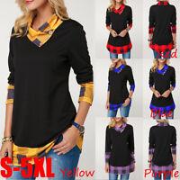Womens Plaid Sweatshirt Pullover Jumper Blouse T-Shirt Tops Cowl Neck Fashion