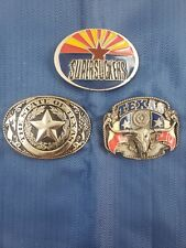 Texas Belt Buckles Lot Of 3 Siskiyou, supersuckers,State of Texas Made in USA