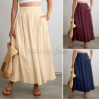 UK Womens Ladies Long Gypsy Skirt Maxi A-Line High Waist Jersey Dress Skirt 8-26
