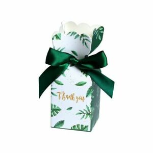 Party Gift Supplies Packaging Box With Ribbon Plant Pattern Paperboard Materials