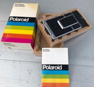 Vintage Polaroid SX-70 CHROME BLACK Land Camera SONAR One Step Very Clean