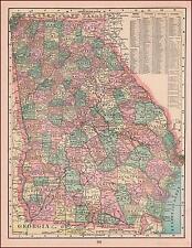 GEORGIA, antique state map, ORIGINAL 1901