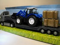 TOY ARTIC LORRY TRACTOR TRANSPORTER MODEL HEAVY GOODS LOW LOADER TRUCK BLUE