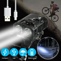 MTB Road Bike Front Light Bicycle 2 LED Lamp USB Waterproof Headlight Bright