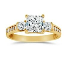 1.50 ct Princess Cut Simulated Diamond Solitaire Engagement 14k Yellow Gold Ring