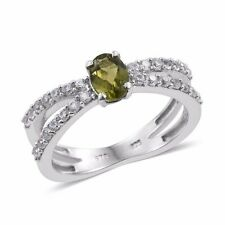 Ring,  Peridot, Cambodian Zircon Platinum Over Sterling Silver Ring (Size 7.0)