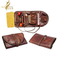 Genuine Leather Smoking Tobacco Pipe Pouch Case Bag for 2 Pipes Tamper Filter
