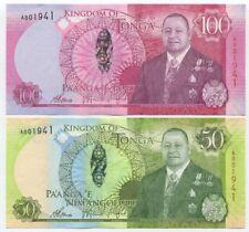 Tonga 50 + 100 Pa'anga 2015 UNC, Matching S/N, New Series, King Tupou VI