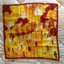 "Yellow & Brown Scarf~Made in Japan~100% Acetate Twill~25"" Square"