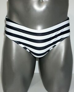 BRAND NEW MEN'S STRIPED PADDED FRONT SWIM BRIEF (LARGE)