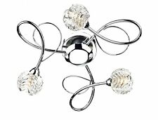 Dar Lighting Zelda 3 Light Semi Flush Ceiling Light, Polished Chrome