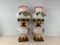 Vintage Gone with the Wind Style Pair of Glass Lamps w/ Hand Painted Floral Dec.