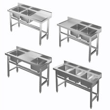 More details for commercial catering kitchen sink basin stainless steel bowl drainer prep shelf