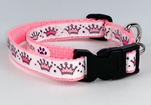 """Princess cat or small dog collar 1/2"""" wide adjustable handmade bell Or leash"""