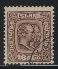 Iceland 1907 16a Brown Kings Christian & Frederik Sc# 78 used