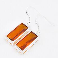 European Jewelry Rectangle Honey Brazil Citrine Gemstone Silver Hook Earrings