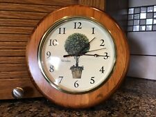 Vintage WESTCLOX Wall Clock Quartz Battery Topiary Tree Ivory & Green WOODEN 10""