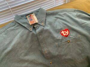 Ty Beanie Baby Jean Long Sleeve Shirt BLUE Size: XL Rare NOS NEW OLD STOCK