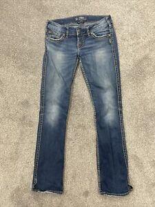 Silver Mckenzie Straight Leg Stretch Womens Jeans Button Flap Pockets Size 28x32