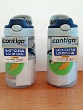 Contigo Kids 14 oz Water Bottle Lot of 2 Green Blue Sloth Easy Clean