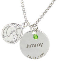 Baby Feet Disc & Gem Pendant Personalised Engraved Name Date Necklace Jewellery