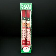 1971 New UnUsed Vintage Santaclaus Face+Beard Handmade 2 Taper Christmas Candles