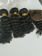 12A BRAZILIAN VIRGIN Human Hair 10+12+14&10inch lace Closure Deep Curl 1b# 350g