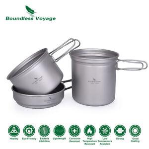 Titanium Pot Pan Set with Folding Handle Outdoor Camping Soup Pot Frying Pan